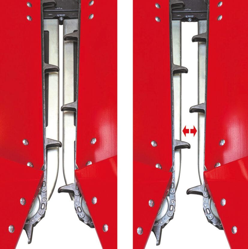 Funktion der patentierten automatischen Pflückplatten des Olimac DRAGO 2 Maispflücker erklärt.